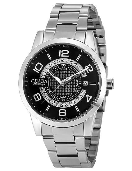 AMPM24 PMW499 Reloj Señor Mecánico Fecha Carrera de Acero Inoxidable Plateado: Amazon.es: Relojes
