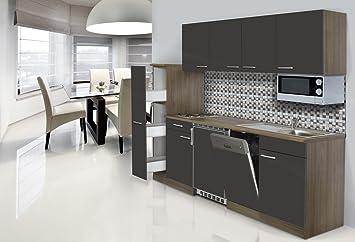 Singleküche mit spülmaschine  respekta Einbau Single Küche Küchenblock 225 cm Eiche York ...