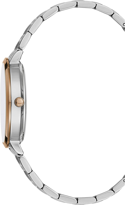 BCBGMAXAZRIA Women's Japanese-Quartz Stainless Steel Case Geniune Leather/Stainless Steel Strap Casual Watch (Model: BG50665001-08 Rose Gold