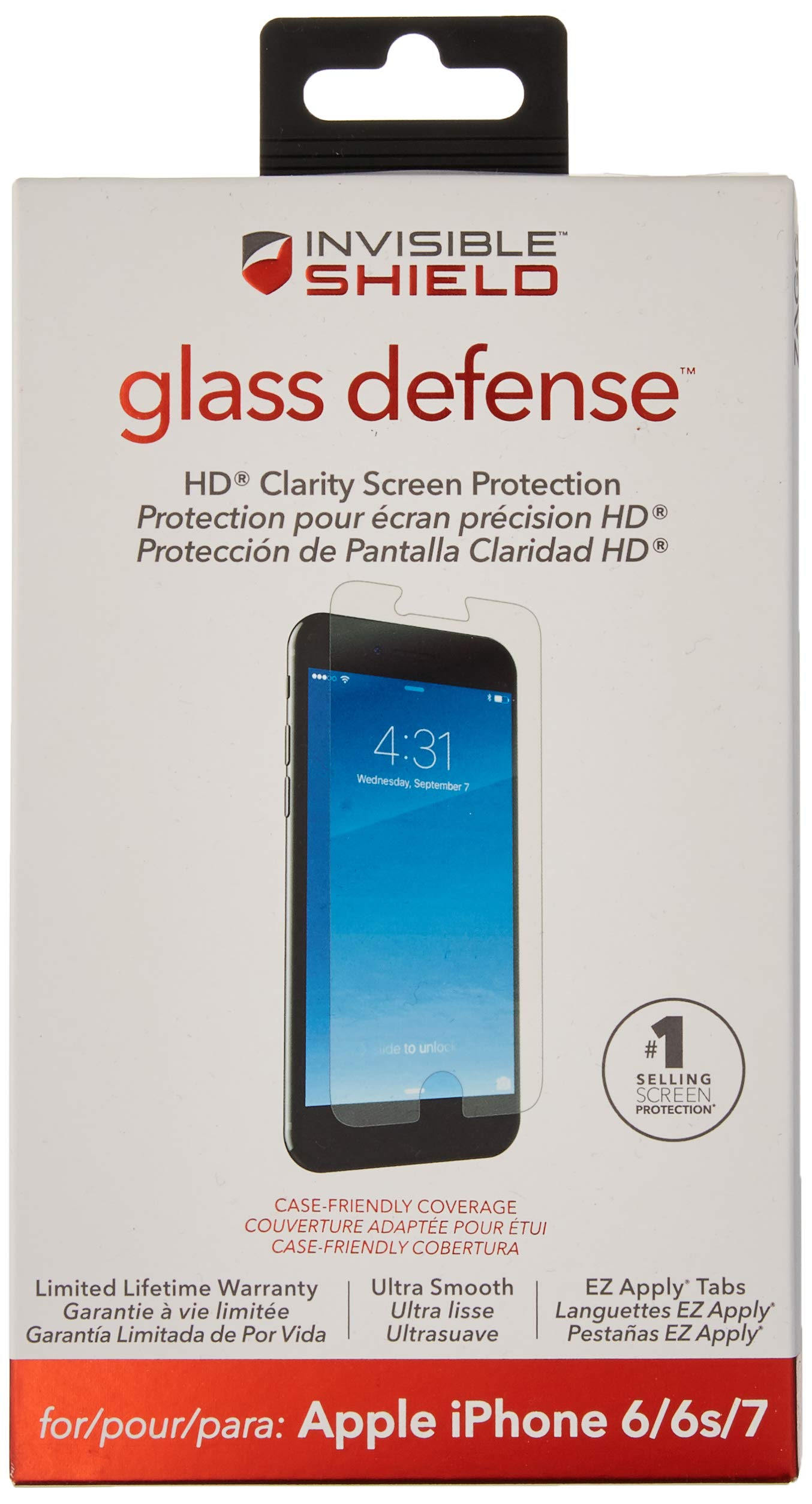 ZAGG InvisibleShield Glass Defense – Screen Protector for Apple iPhone 7, iPhone 6s, iPhone 6