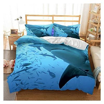 Shark Fish Print Kids Duvet Cover Set Full Bedding Cover Set Boys Girls Duvet Comforter Cover Set Luxury Soft Full Duvet Cover Set for Children Teens: Home & Kitchen
