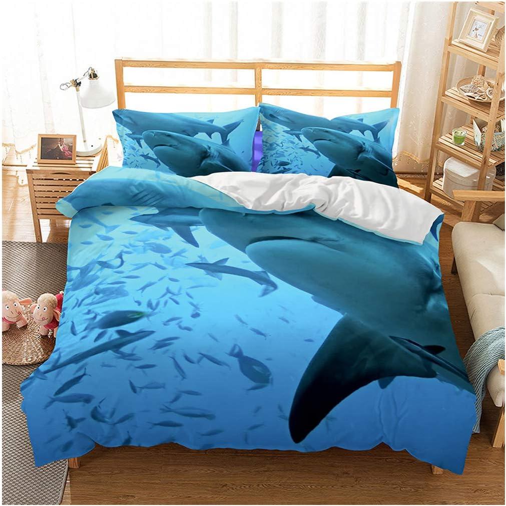 Shark Fish Print Kids Duvet Cover Set Queen Bedding Cover Set Boys Girls Duvet Comforter Cover Set Luxury Soft Queen Duvet Cover Set for Children Teens