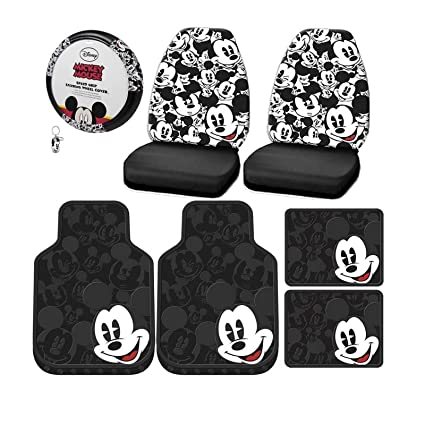 Peachy 8Pcs Mickey Mouse Expressions Seat Covers Front Rear Floor Mats Steering Wheel Cover Key Chain Set Caraccident5 Cool Chair Designs And Ideas Caraccident5Info