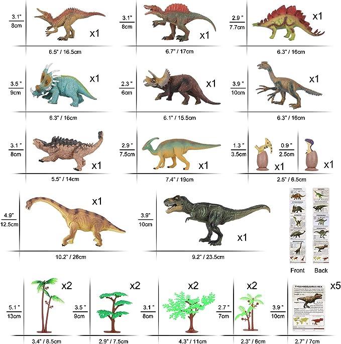 """Dinosaure Jouet Set De 3 Plastique Souple chiffres Tyrannosaurus Rex Stegosaurus 6-7/"""""""