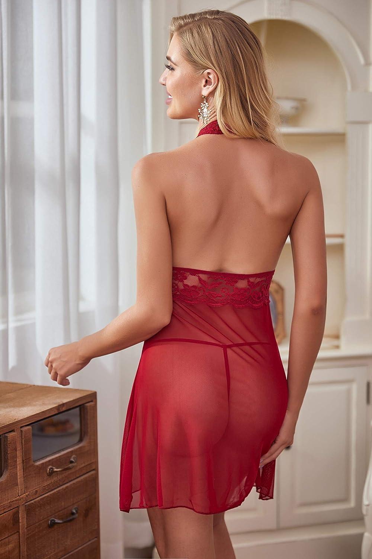 Avidlove Negligee Damen Nachtw/äsche Nachtkleid Nachthemd Spitze Lingerie Dessous Reizw/äsche Set Sleepwear Kleid