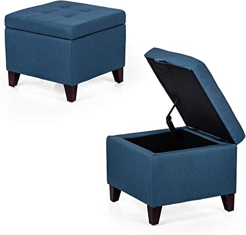 Adeco Square Fabric Storage Ottoman