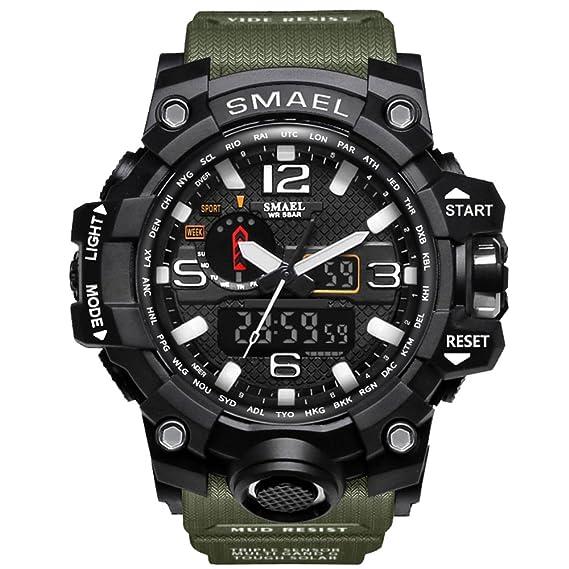 fomtty Hombre Relojes Reloj analógico digital reloj deportivo resistente al agua reloj de pulsera LED reloj Digital con Cronómetro de Ejército para Hombres ...