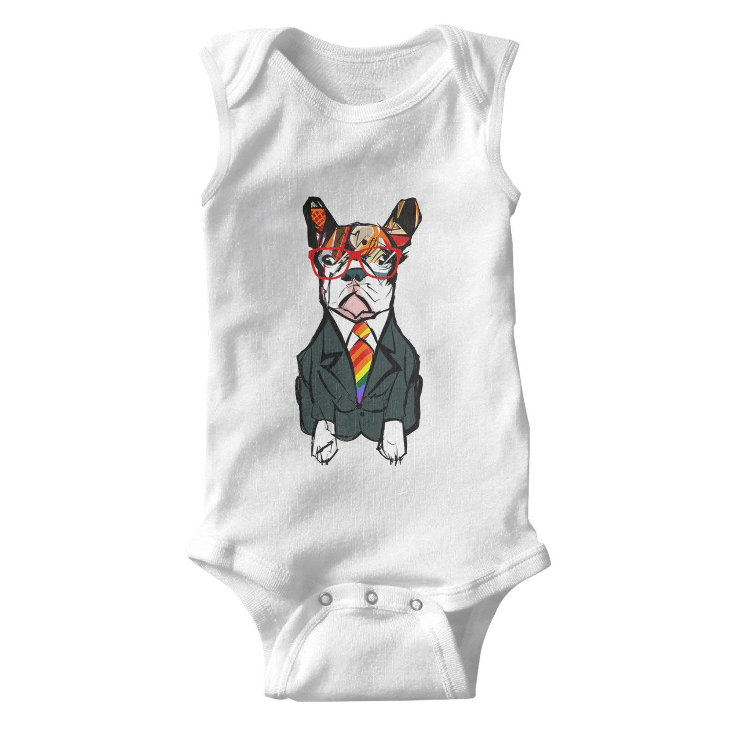 lsawdas Cute French Bulldog Wearing Glasses Unisex Baby Cotton Sleeveless Funny Onesies Baby Onesies White