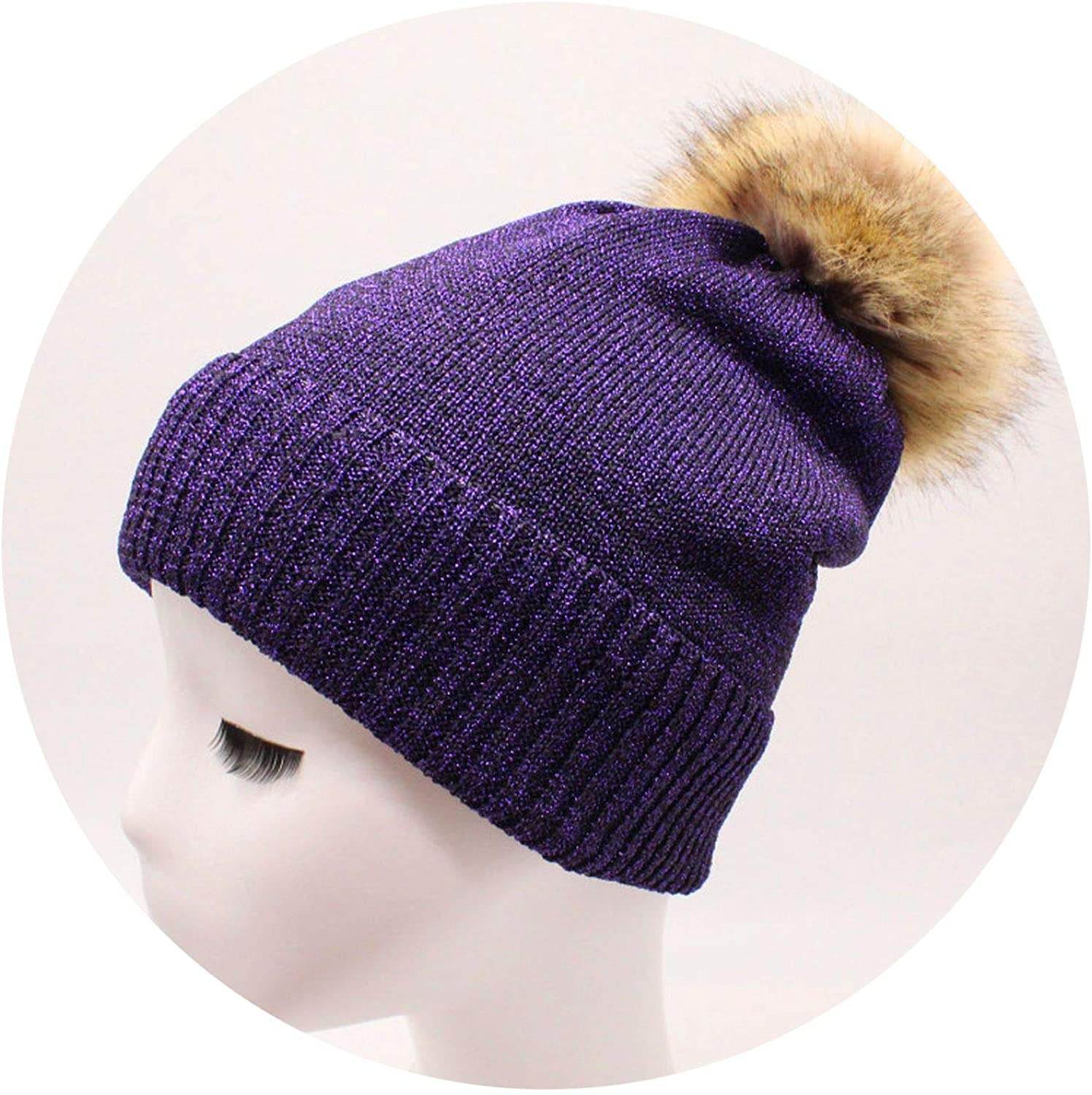 Youth-Song Mink and Cap pom poms Winter hat Girl s hat Knitted Beanies Cap New Thick fe Cap