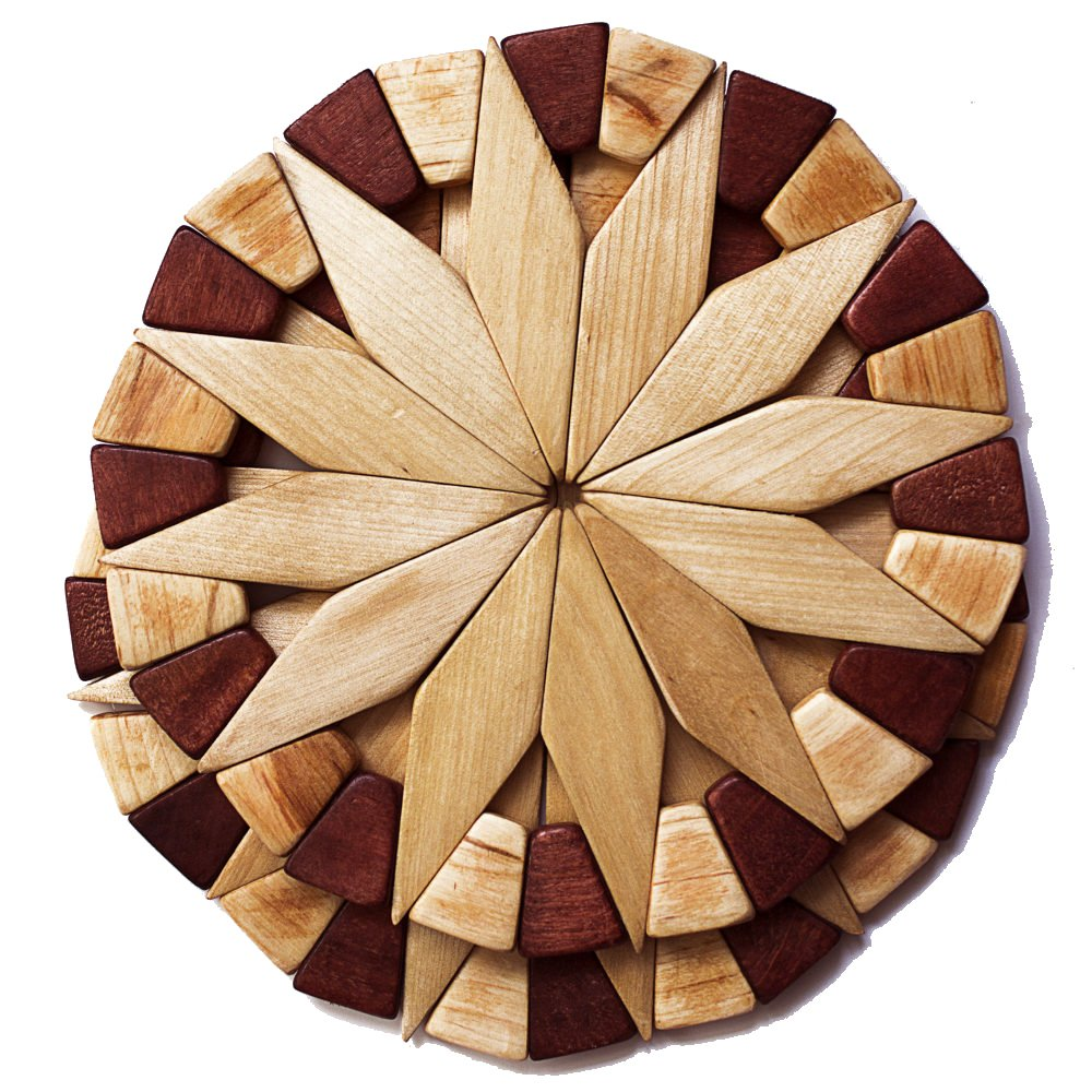 Natural Wood Trivets For Hot Dishes - 2 Eco-friendly, Sturdy and Durable 7'' Kitchen Hot Pads. Handmade Festive Design Table Decor - Perfect Kitchen Gifts Idea. by ECOSALL (Image #1)