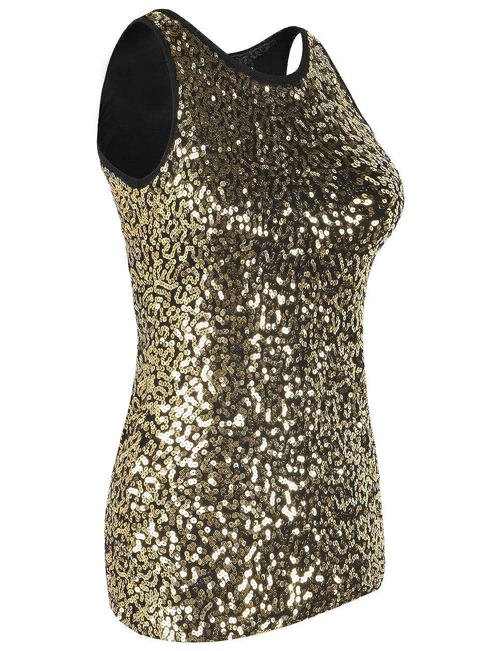 401f80e585d0ef Amazon.com  PrettyGuide Women s Full Sequin Tank Top Sleeveless Sparkle  Shimmer Vest Tops Clubwear  Clothing