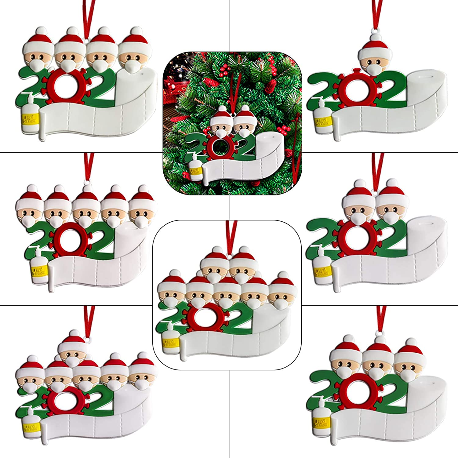 vkbuou Christmas Ornaments 2020 Personalized Xmas Party Decorations Customized Quarantine Survivor Family Christmas Tree Decorating Kits Creative Gifts Fit 2 Family Members