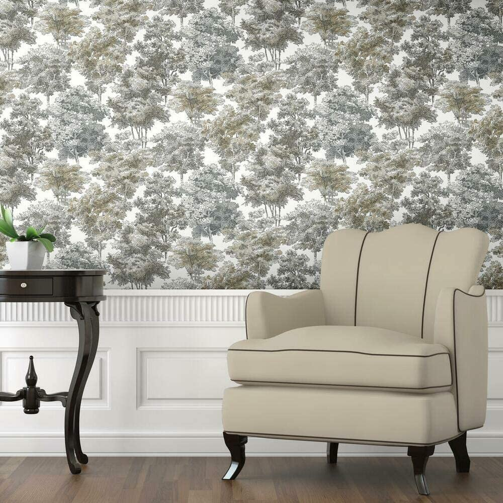 RoomMates Old World Trees Grey and Beige Peel and Stick Wallpaper