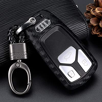 Royalfox(TM) Soft Silicone Carbon Fiber Style Smart keyless Remote Key Fob case Cover for Audi A3 A4 A5 A6 A7 Q3 Q5 Q7 C5 C6 B6 B7 B8 TT 80 S6 A6 C6 Keychain (for Audi New Key)