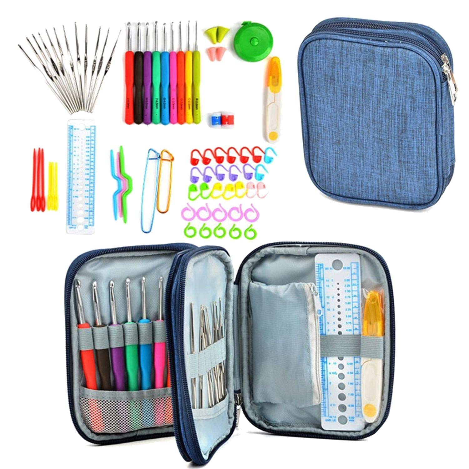 72 Pcs Kit Yarn Knitting Needle Sewing Tool Crochet Hook Soft Handle Weave Set with Bag Craft Aluminum DIY Ergonomic Portable
