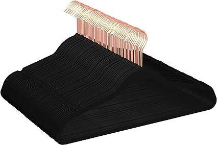 Perchas de terciopelo para trajes con gancio per cravatte 100 unidades color negro Basics