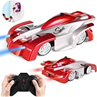 SGILE Remote Control Wall Climbing Car Toy - Rechargeable Dual Mode 360° Rotating Stunt Car Racing Vehicle - Red