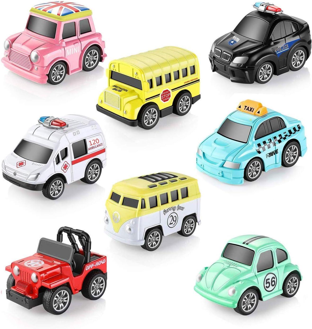 OMZGXGOD 8 Piezas Metálico Tire hacia Atrás Coches de Juguetes, Miniature Camion Modelos para Niños y Niñas,Estupendos como Regalitos para Fiestas Infantiles,para niños de 3 a 12 Años Niñas Niños