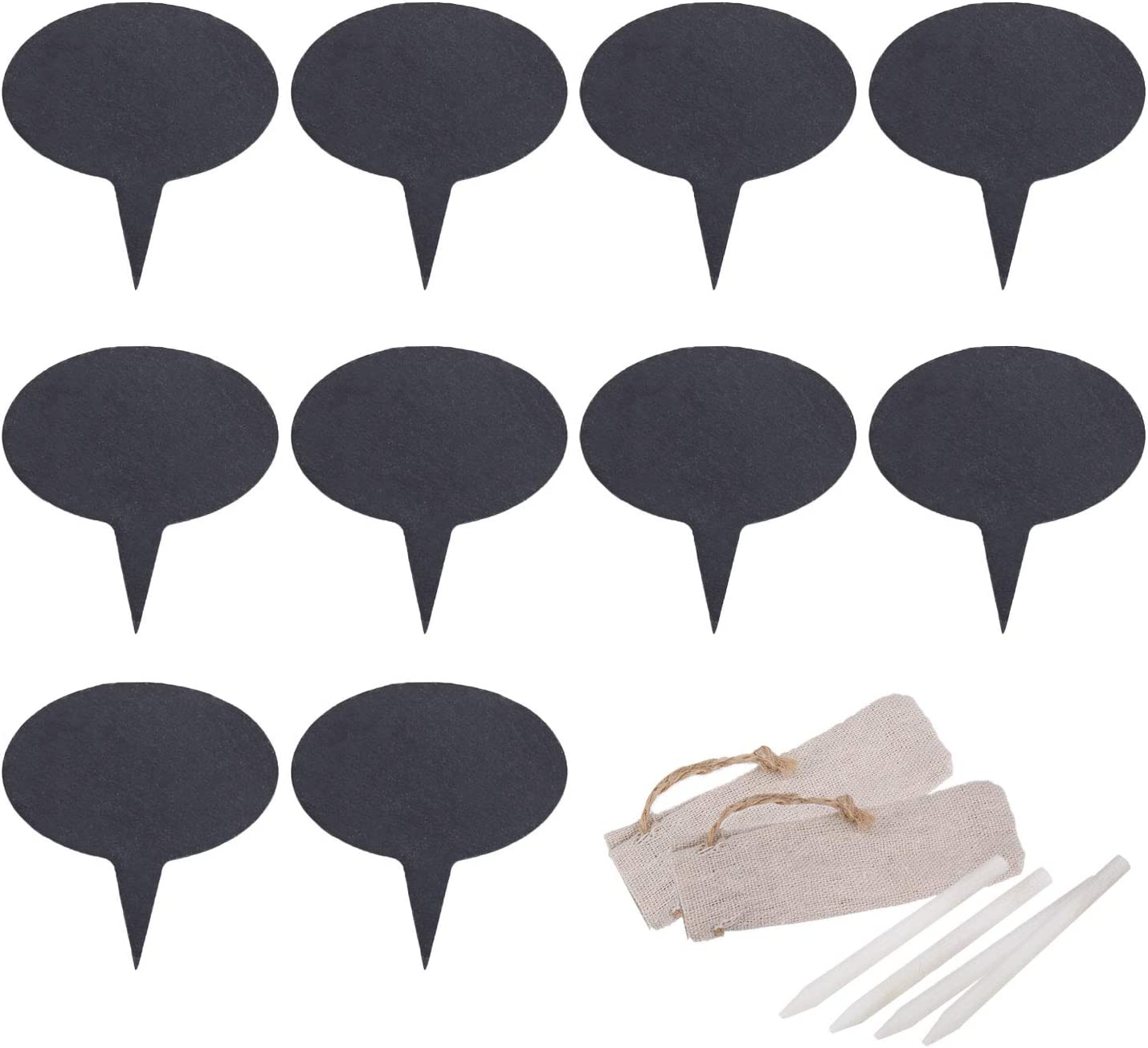 Freehawk Cheese Markers Set with 10 Natural Slate Cheese Labels & 4 Soapstone Chalks, Cheese Name Tags Set for Parties and Dinners