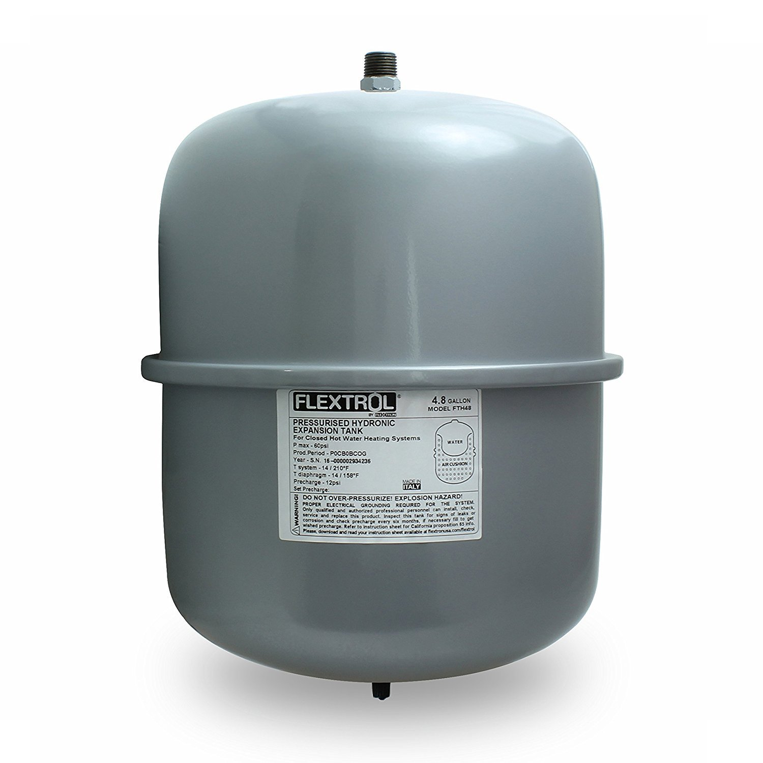 Flextrol FTH30 Hydronic Expansion Tank 4.8 Gallons for Closed Hot Water Heating Systems, 1/2 Inch MIP Connection, Gray