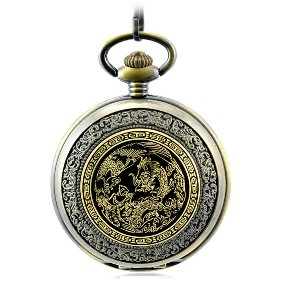 LOCHING Luxury Mechanical Pocket Watch Antique Vintage Prosperity and Auspicious Brought by The Dragon and The Phoenix