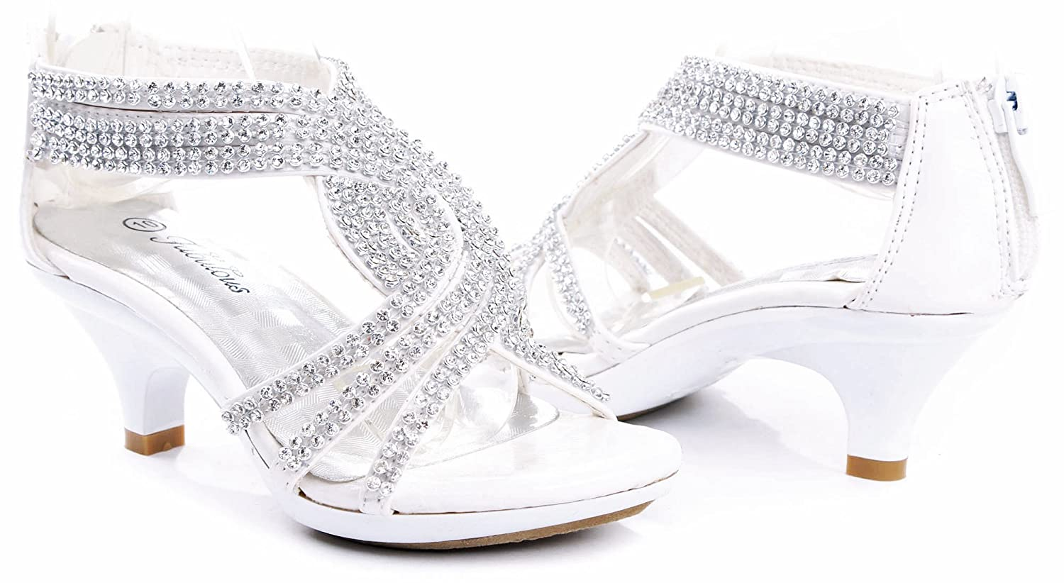 1bb080242 JJF Shoes Fabulous Angel-37K Little Girls Bling Rhinestone Platform Dress  Heels Sandals
