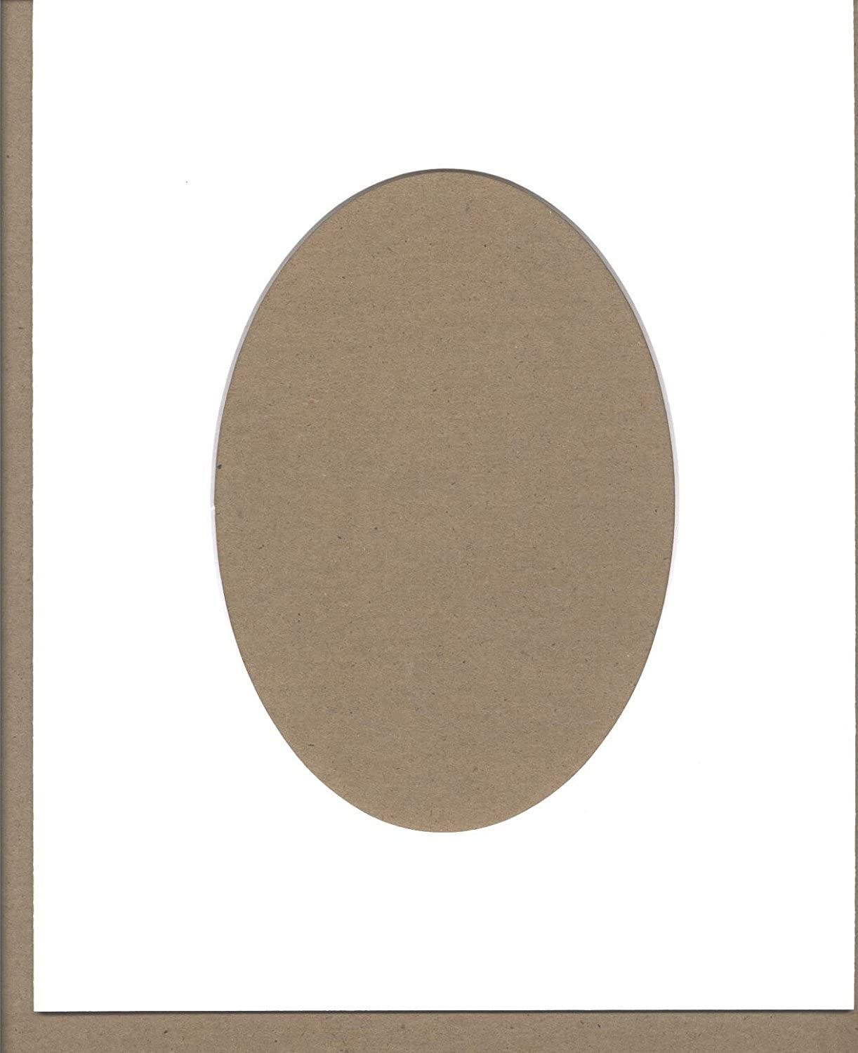 Pack of 5 8x10 White Oval Opening Picture Mats Bevel Cut for 5x7 Pictures
