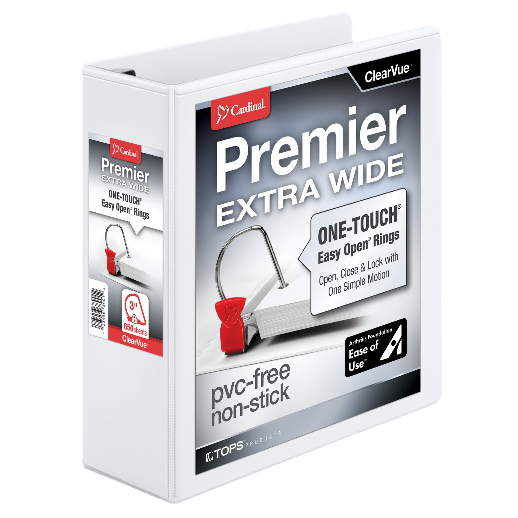 Cardinal Premier Easy Open Extra-Wide 3-Ring Binder, 3'', ONE-TOUCH Easy Open Locking Slant-D Rings, 650-Sheet Capacity, ClearVue Cover, White (13330)