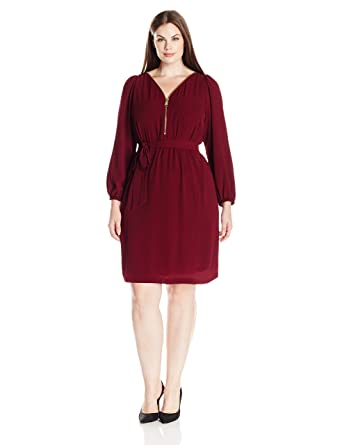 2989546f04 MSK Women s Plus Size L s Zipper Front Dress at Amazon Women s Clothing  store