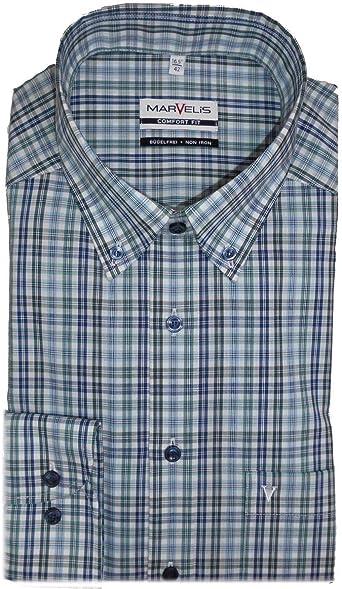Marvelis Comfort Fit - Camisa, diseño de cuadros, color verde y azul verde 48: Amazon.es: Ropa y accesorios