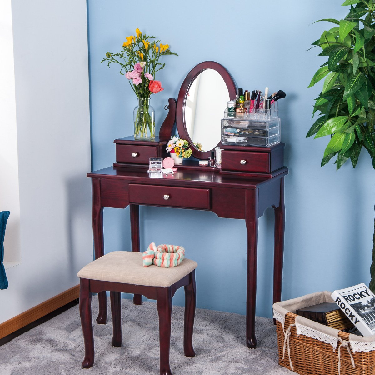 Merax Vanity Set with Stool Dressing Make-Up Table with 3 Drawers and Mirror Bedroom (Cherry