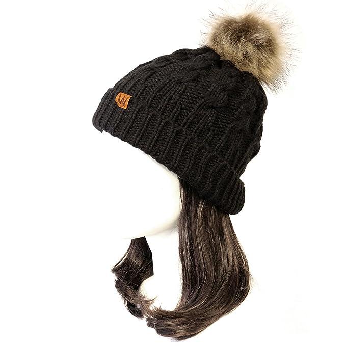26410947055 Wrapables Winter Warm Cable Knit Faux Fur Pom Pom Beanie