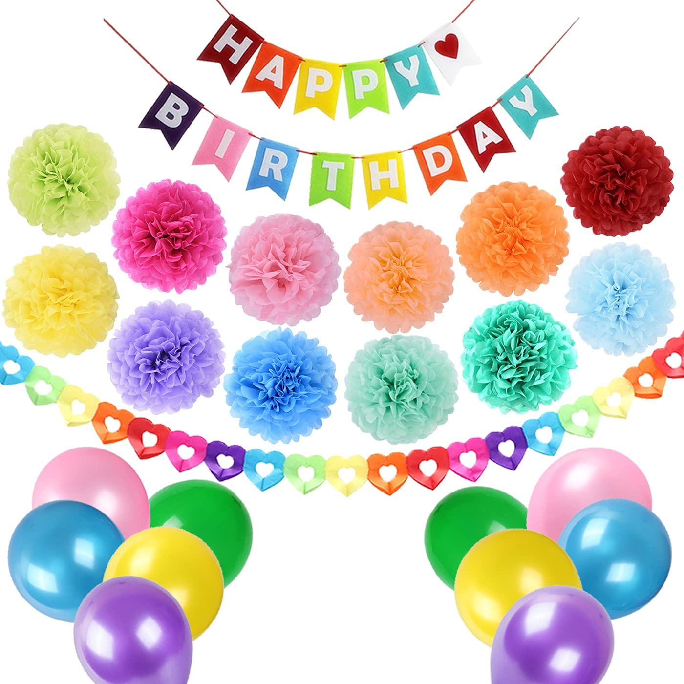 Rainbow Birthday Balloons Poms Decorations Colorful Felt Happy Birthday Banner Paper Pom Poms Heart Garland Latex Balloons Pack for Women Girls Kids Birthday Party Baby Shower Decoration