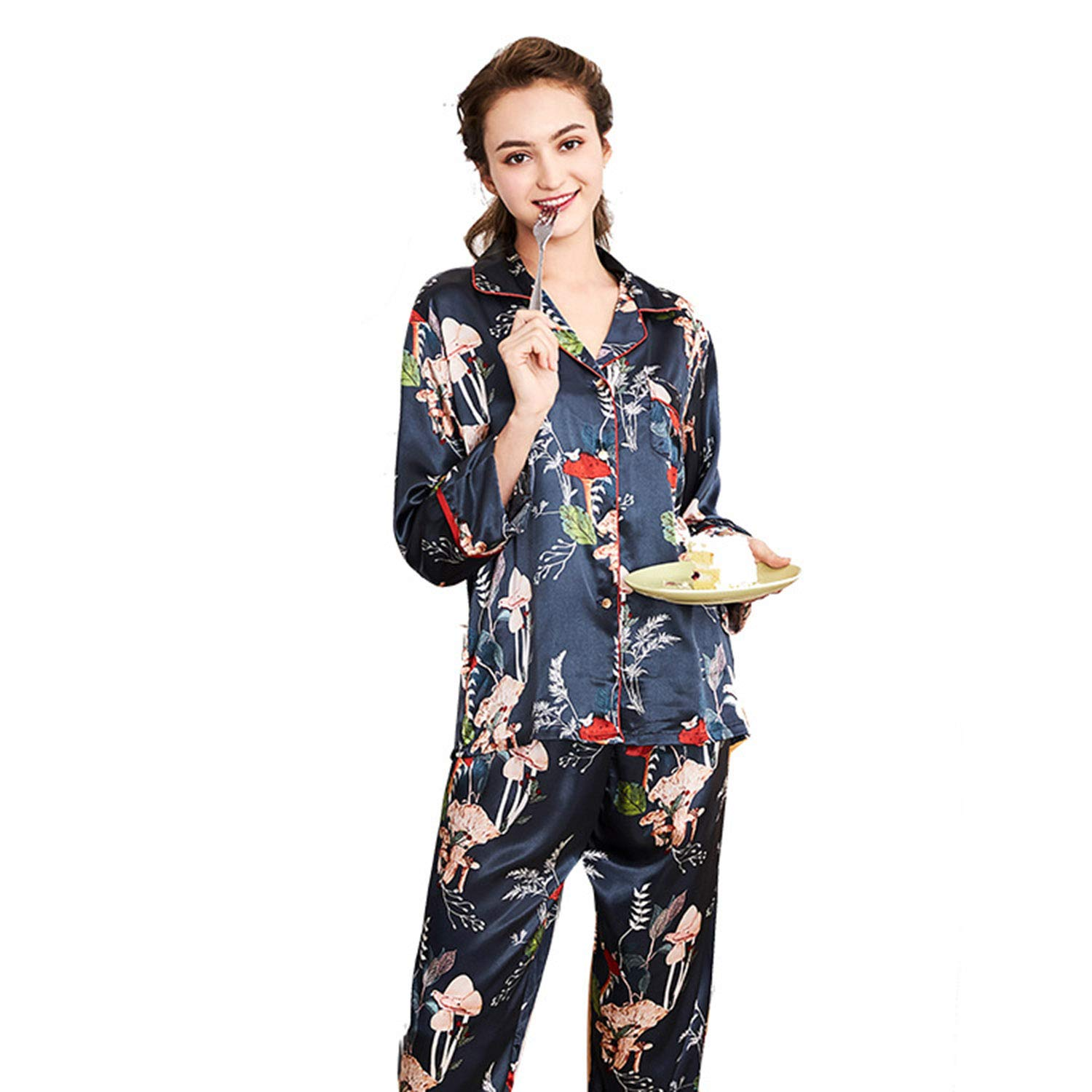 Spinning Silk Pajamas Women's Clothing Long Sleeve Trousers Tracksuit TwoPiece Suit