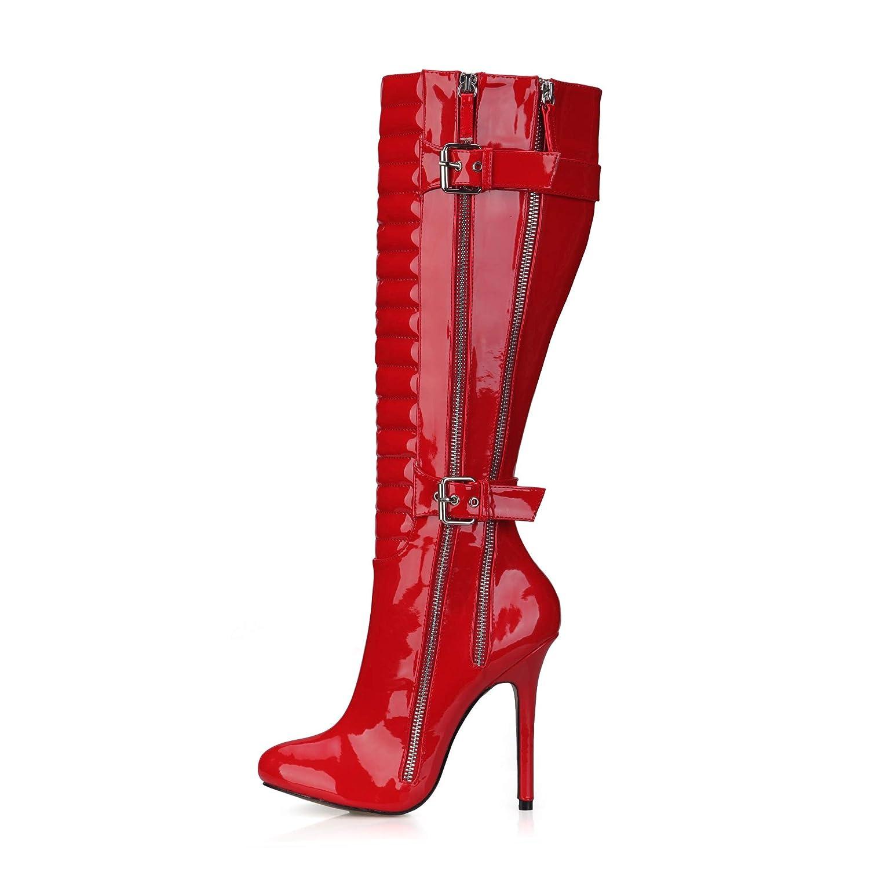 Best 4U Frauen Herbst Winter Stiefel 12 cm High Heels Heels Heels Lackleder Kniehohe Schuhe Spitz Zehe Schnalle Schuhe Volltonfarbe B07GQVTSFM Tanzschuhe Wert 4ff63d