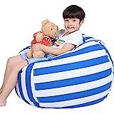 Lukeight Stuffed Animal Storage Bean Bag Chair for Kids, Zipper Storage Bean Bag for Organizing Stuffed Animals, Stripe Bean