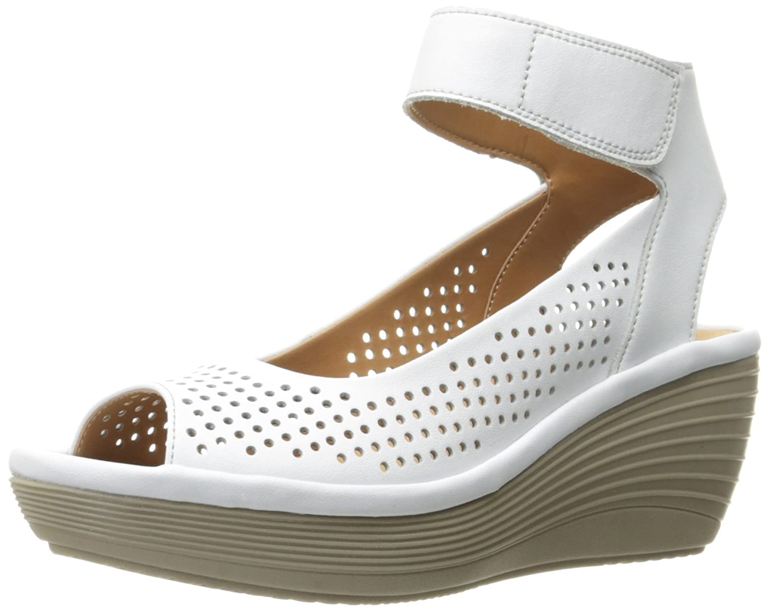 CLARKS Women's Reedly Salene Wedge Sandal B01IAFWTB4 11 W US|White Leather