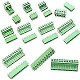 SamIdea 10Pairs 2-11 Pin 5.08mm Plug Type Pitch PCB Mount Screw Terminal Blocks Assorted Kit, AC 300V 15A(IEC)/10A(UL)