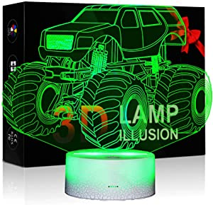 Night Lights for Kids Monster Truck 3D Night Light Bedside Lamp 7 Colors Changing with Touch Control Best Birthday Gifts for Boys Girls Kids Baby