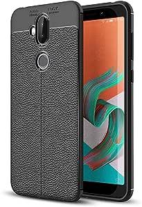Cqu for Asus Zenfone 5 Lite ZC600KL Telephone Litchi Texture Soft TPU Protective Back Cover Case Shell Shockproof (Color : Black)