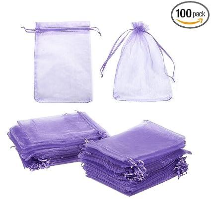 Amazon.com: 100-Piece bolsas de organza, color morado bolsa ...