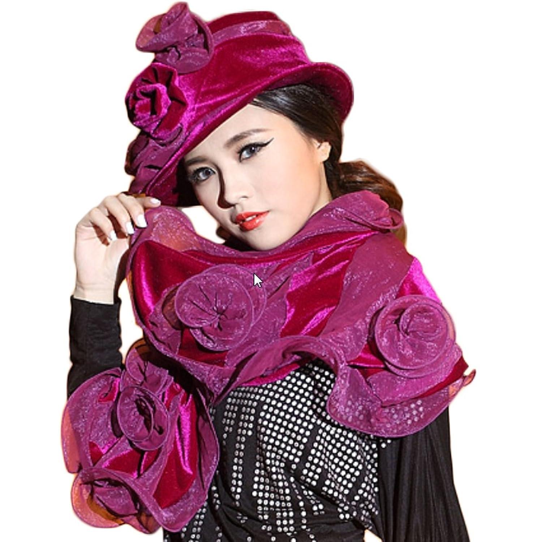 June's Young Damen-Hüte Samthut mit Blumen Winter Herbst Cape eleganter Hut
