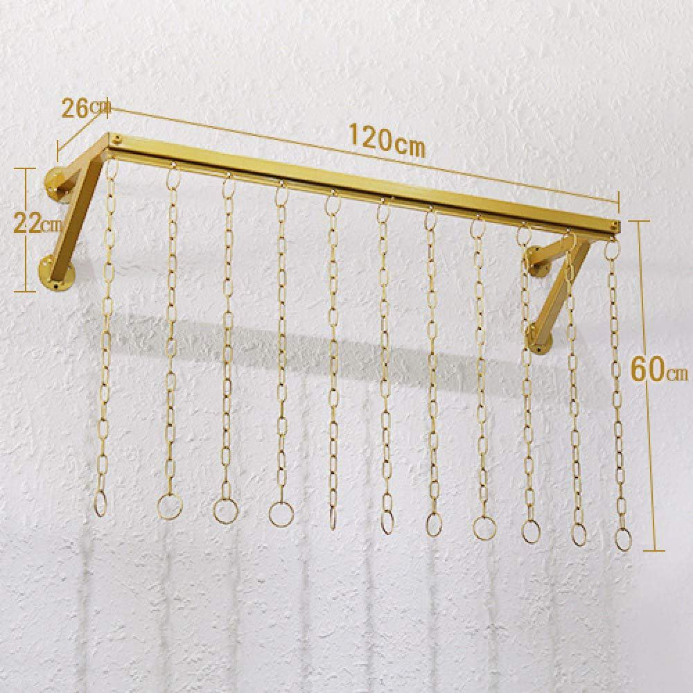 C 120cm HHXD gold Wall-Mounted Clothing Store Clothes Display Rack Wrought Iron Decorative Shelf Hangers Save Space Practical C   100CM