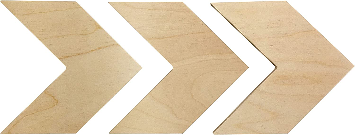 Wooden Chevron Arrows Wall Decor - Unfinished, Rustic