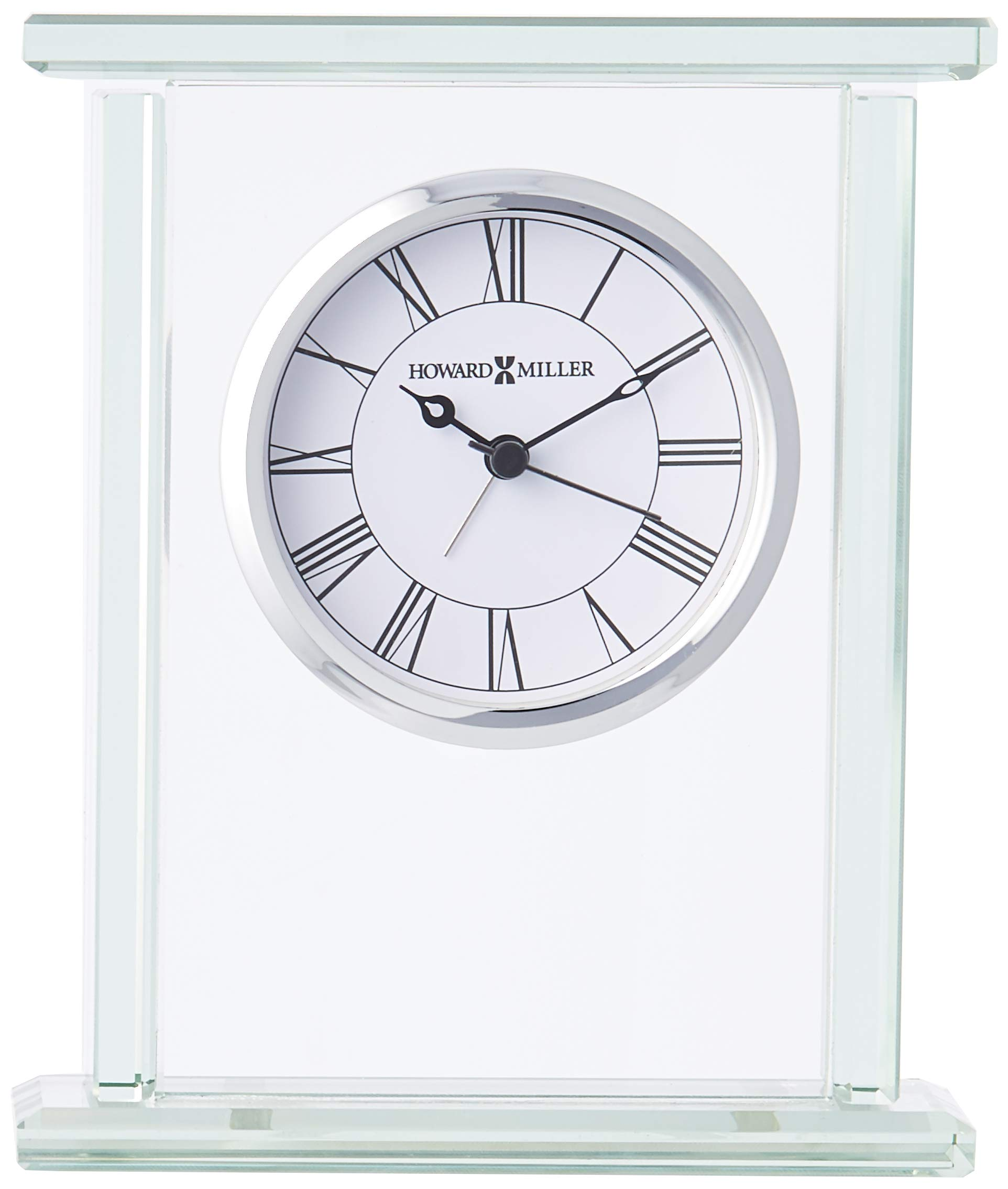 """Howard Miller 645-643 Cooper Table Clock - Glass carriage alarm clock is constructed of .375"""" beveled glass panels. The dial offers a white background with black Roman numerals beneath glass and a polished chrome finished bezel.  The hour, minute and seconds hands are black, while the alarm hand is silver. Quartz, battery-operated alarm movement includes one AA sized battery. - clocks, bedroom-decor, bedroom - 71F 1YA U6L -"""