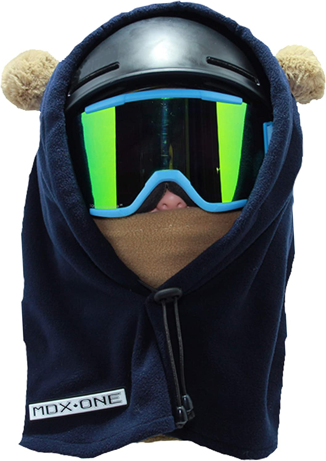 MDXONE Kids Balaclava Over The Helmet Children face mask with Pompoms