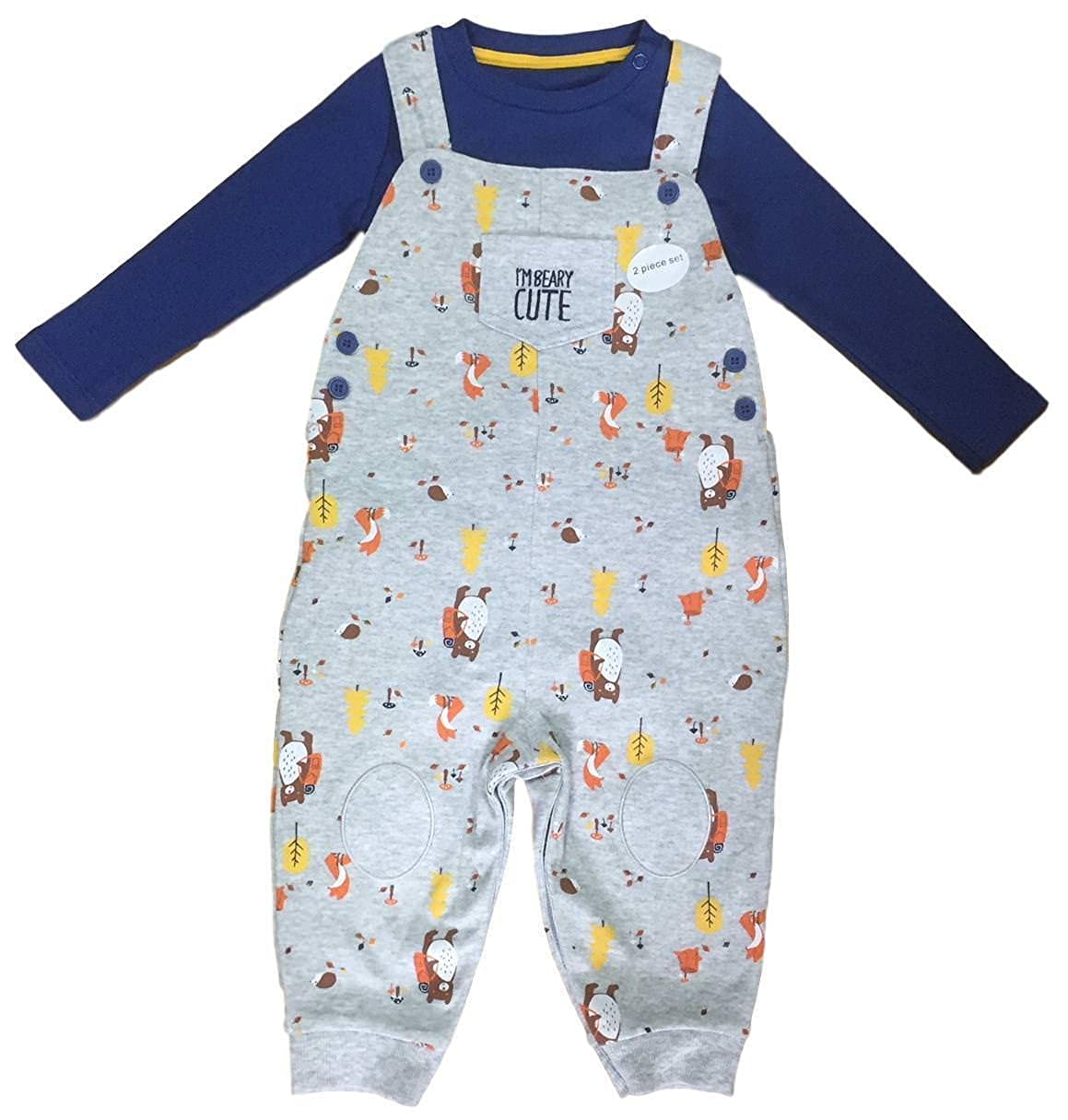 Ex UK Store Baby Boys Dungaree Bodysuit 2PC Outfit Set Bear Theme