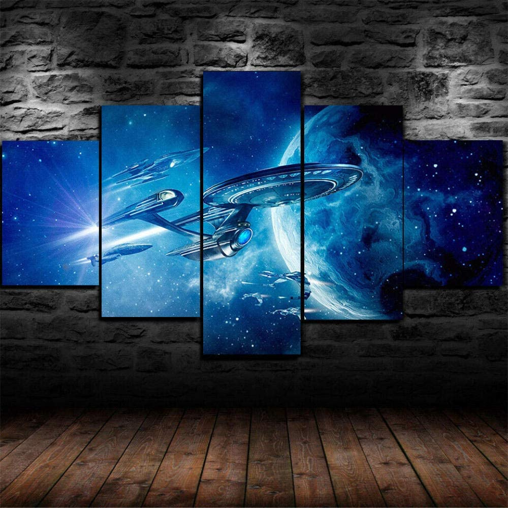 MHJYE 5 Piece Wall Art Painting Star Trek Starship Enterprise Canvas Print Wall Art Painting for Living Room Decor and Modern Home Decorations