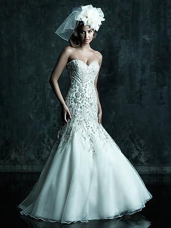 9bbfe03e6daa Amazon.com : New Sweetheart Neckline Mermaid Strapless Organza Belt Beads  Slit Flower Train Wedding Dress : Beauty