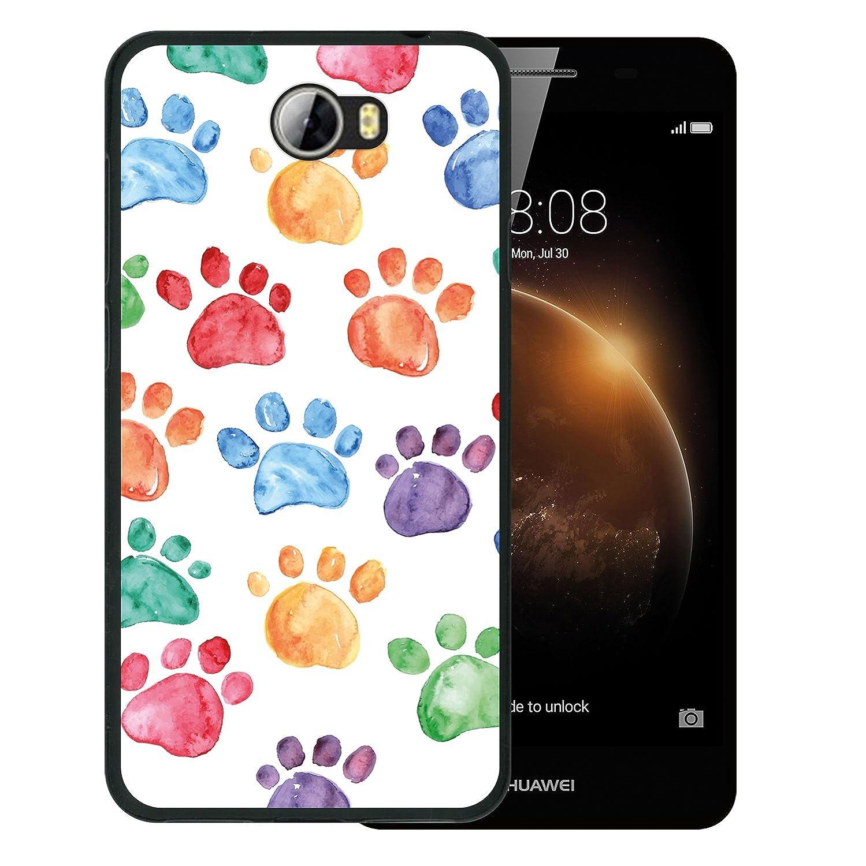 Funda Huawei Y6 II Compact, WoowCase [ Huawei Y6 II Compact ] Funda Silicona Gel Flexible Huellas Perro, Carcasa Case TPU Silicona - Negro